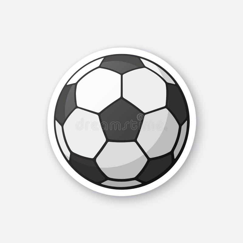 Bola de futebol preto e branco da etiqueta ilustração royalty free