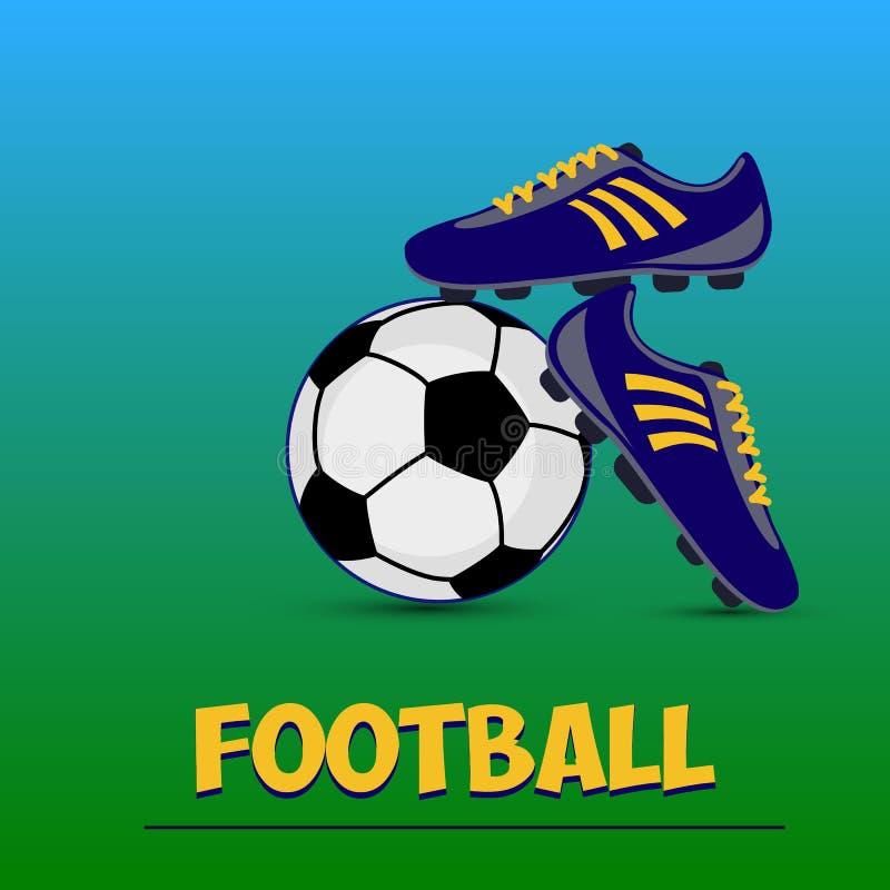 Bola de futebol preto e branco e obscuridade - botas azuis do futebol em uma GR ilustração stock