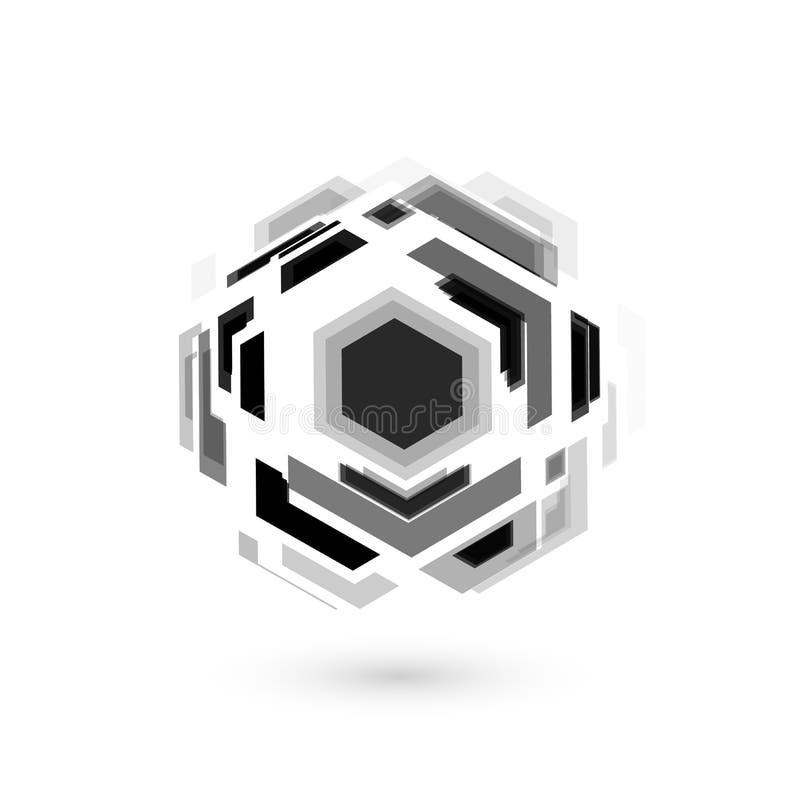 Bola de futebol, projeto incomum, forma abstrata do hexagona Ícone do futebol de Digitas Bola de futebol do Cyber, molde do logot ilustração royalty free