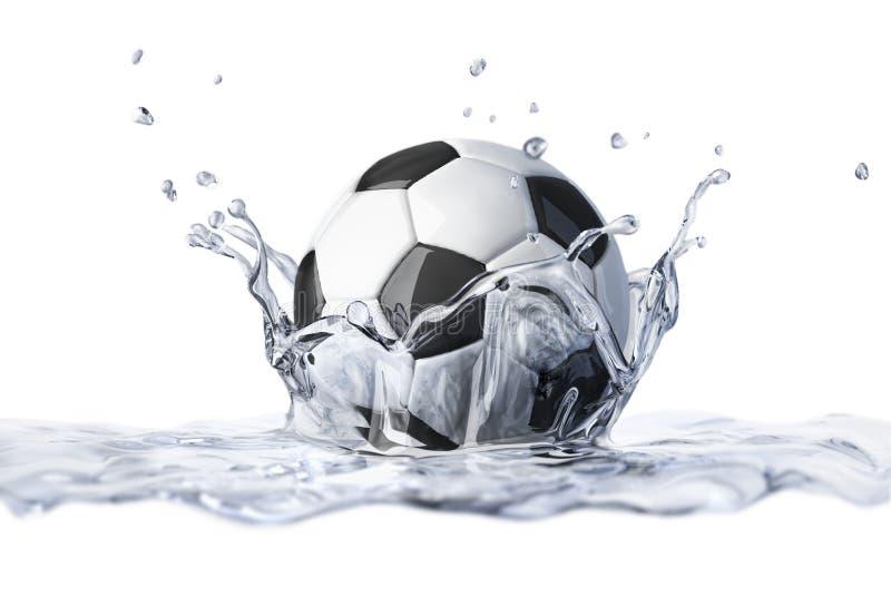 Bola de futebol que cai na água clara, formando um respingo da coroa. ilustração do vetor