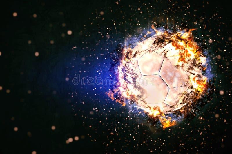 Bola de futebol que queima-se nas chamas foto de stock