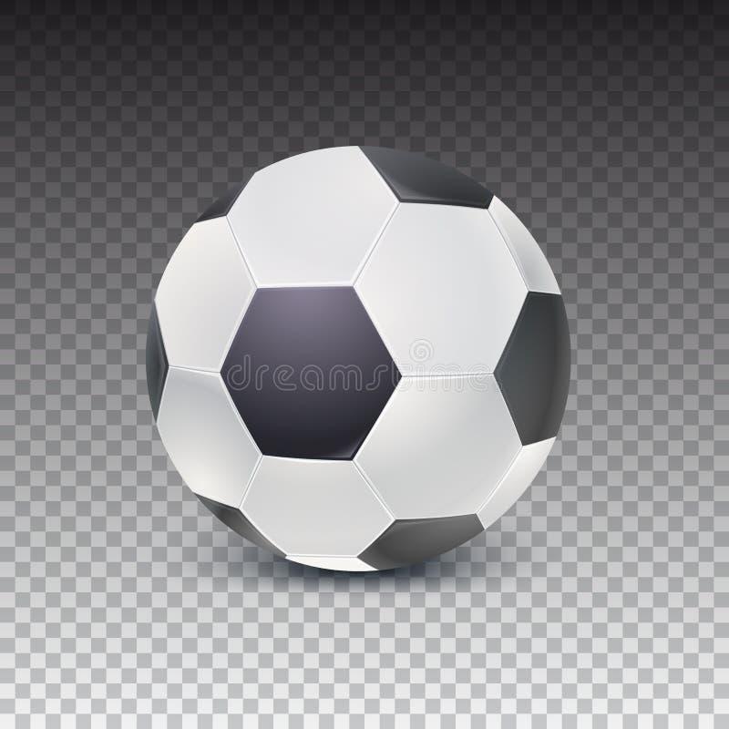Bola de futebol realística com sombra no fundo transparente Ícone detalhado da bola para o jogo no futebol clássico ilustração stock