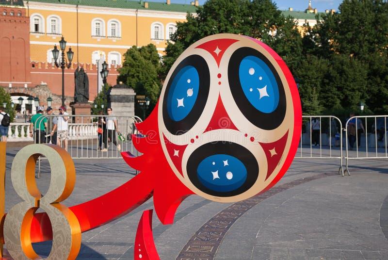 Bola de futebol simbólica Campeonato do mundo 2018 de FIFA fotografia de stock royalty free