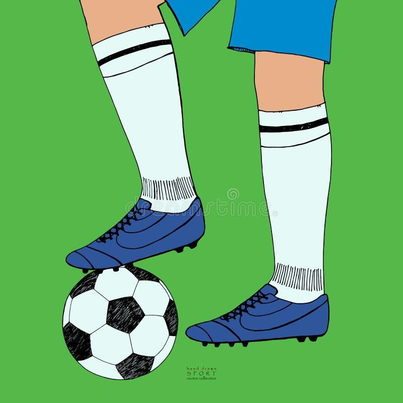 Bola de futebol sob os pés do jogador no fundo verde Esboço tirado mão da cor Ilustração do vetor da cor da coleção do esporte ilustração stock