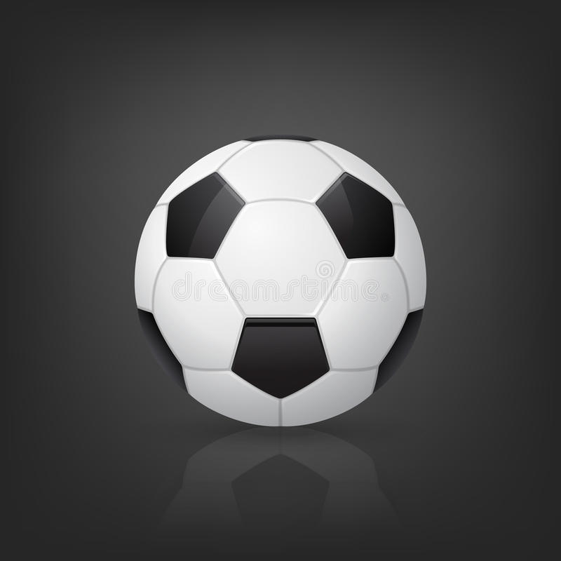 Bola de futebol tradicional no fundo preto Ilustração do vetor ilustração do vetor