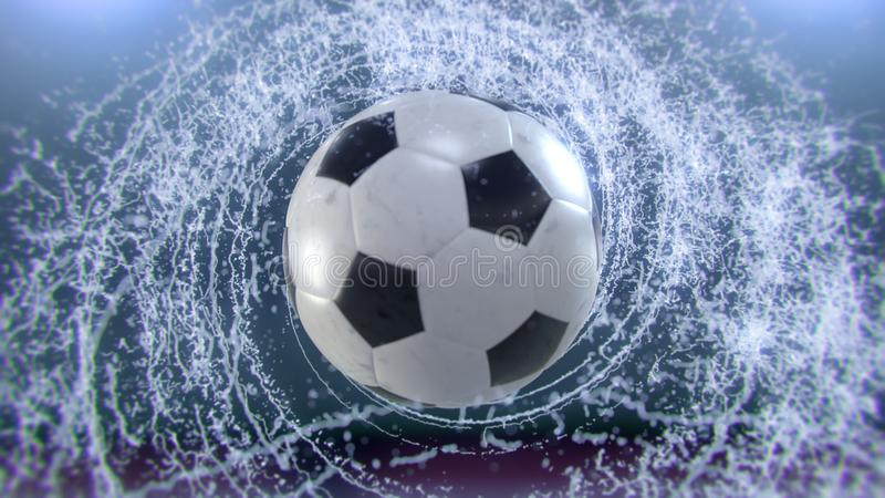 A bola de futebol voa emitindo-se o giro de gotas da água, ilustração 3d ilustração royalty free
