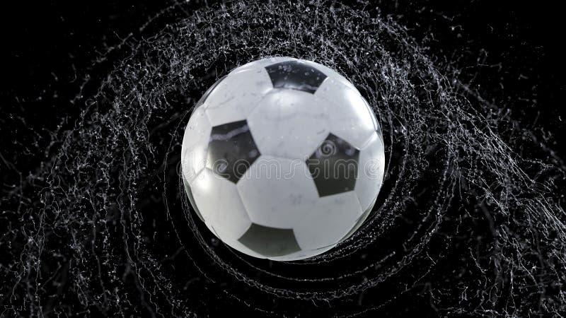 A bola de futebol voa emitindo-se o giro de gotas da água, ilustração 3d ilustração do vetor