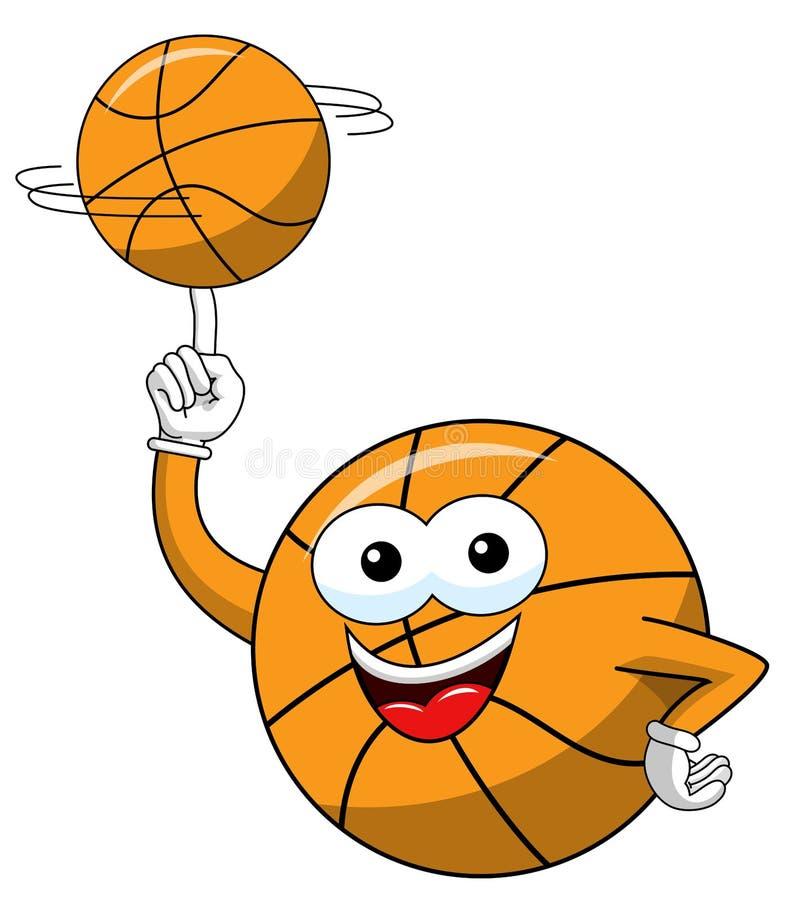 A bola de gerencio do equilíbrio do caráter engraçado dos desenhos animados da bola do basquetebol isolou-se ilustração do vetor