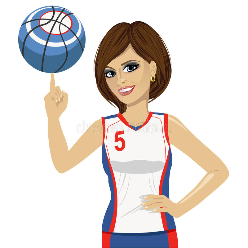 Bola de giro do basquetebol da jovem mulher com seu dedo ilustração do vetor