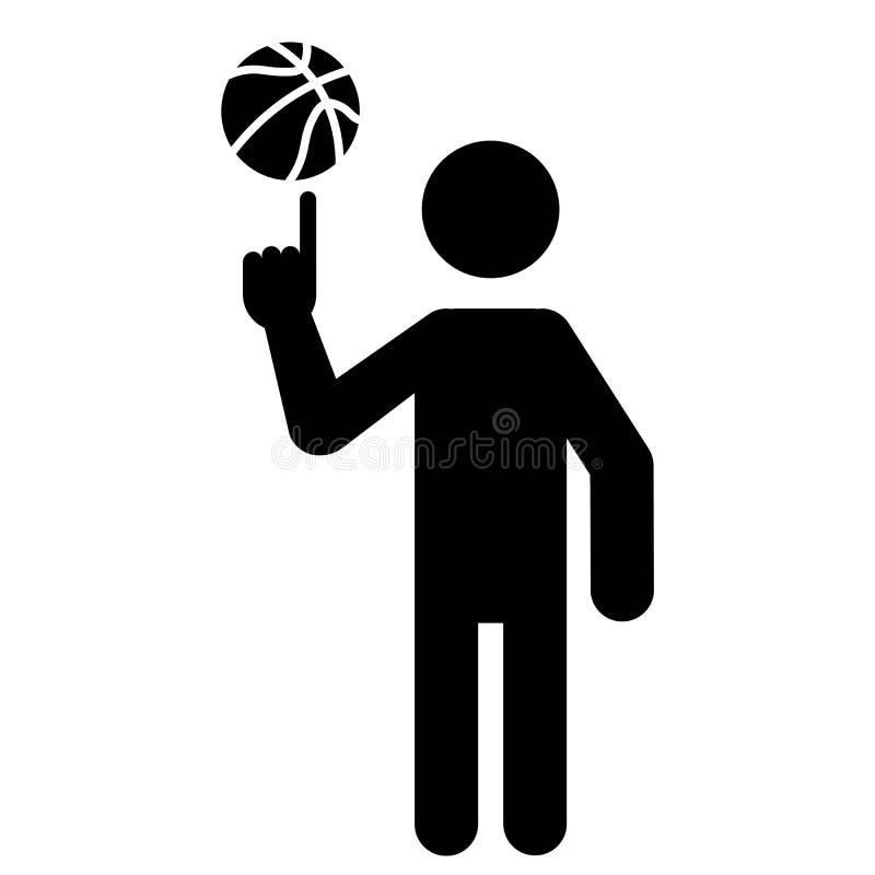 Bola de giro do jogador de basquetebol com dedo ilustração do vetor