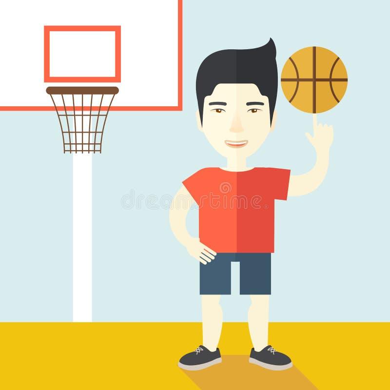 Bola de giro do jogador de basquetebol ilustração stock