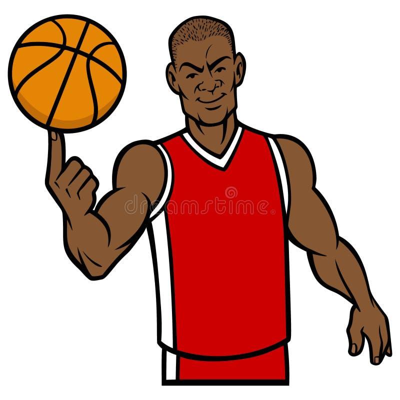 Bola de giro do jogador de basquetebol com dedo ilustração royalty free