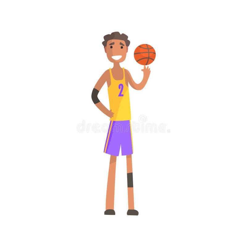 Bola de giro do jogador de basquetebol em uma etiqueta da ação do dedo ilustração stock