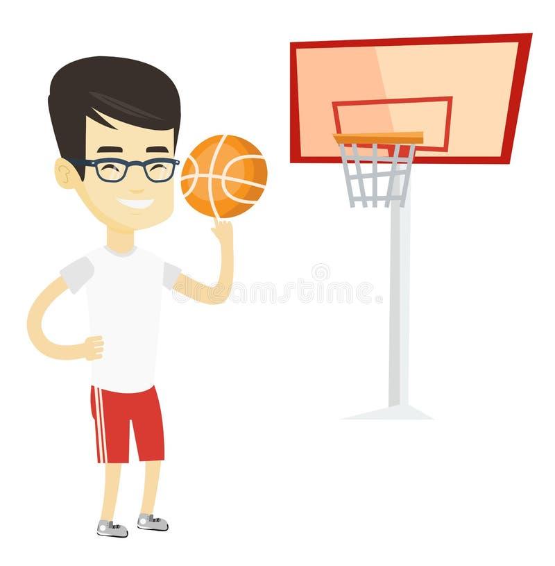 Bola de giro nova do jogador de basquetebol ilustração stock