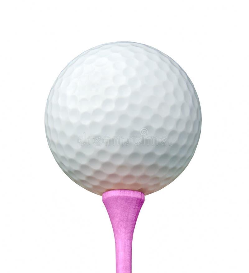 Bola de golfe branca no T cor-de-rosa isolado em um fundo branco fotos de stock royalty free