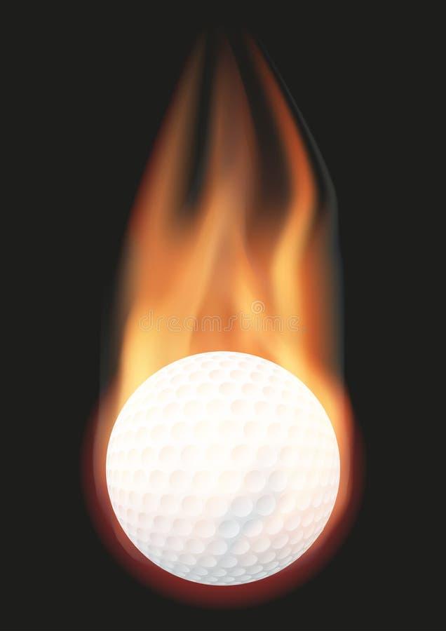 Bola de golfe com chama ilustração do vetor
