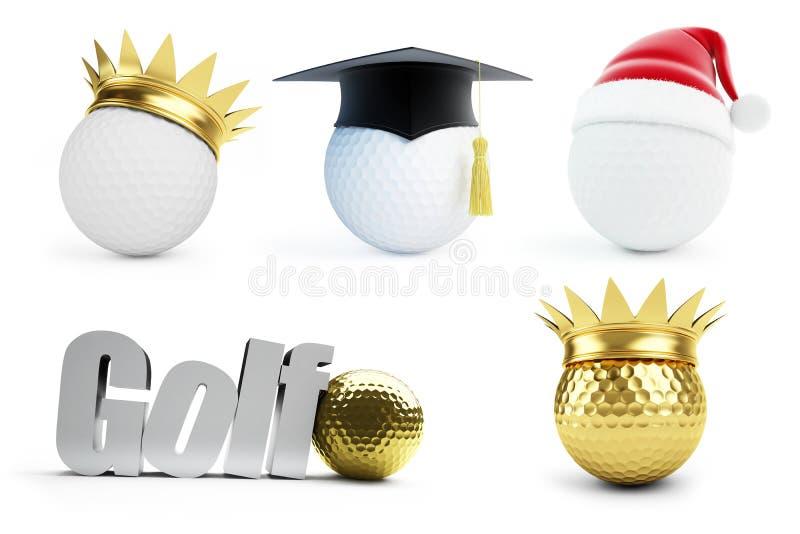 Bola de golfe 3d ajustado No fundo branco ilustração royalty free