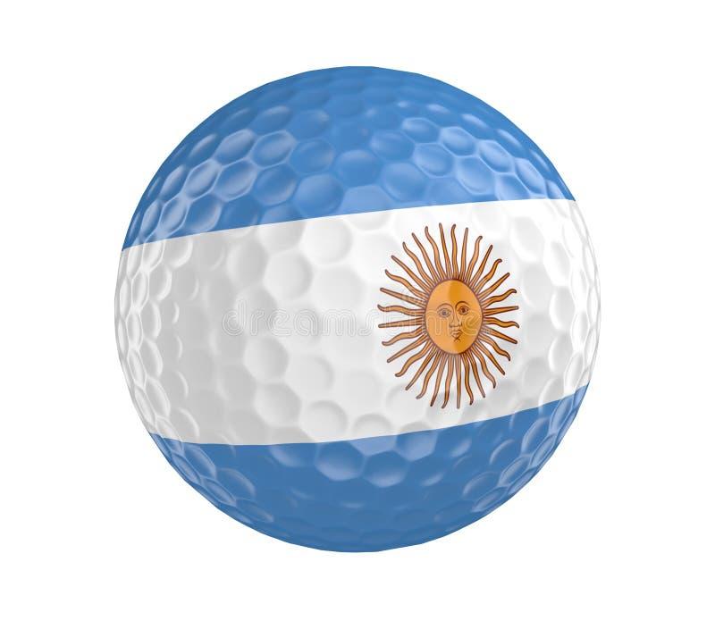 A bola de golfe 3D rende com a bandeira de Argentina, isolada no branco ilustração do vetor