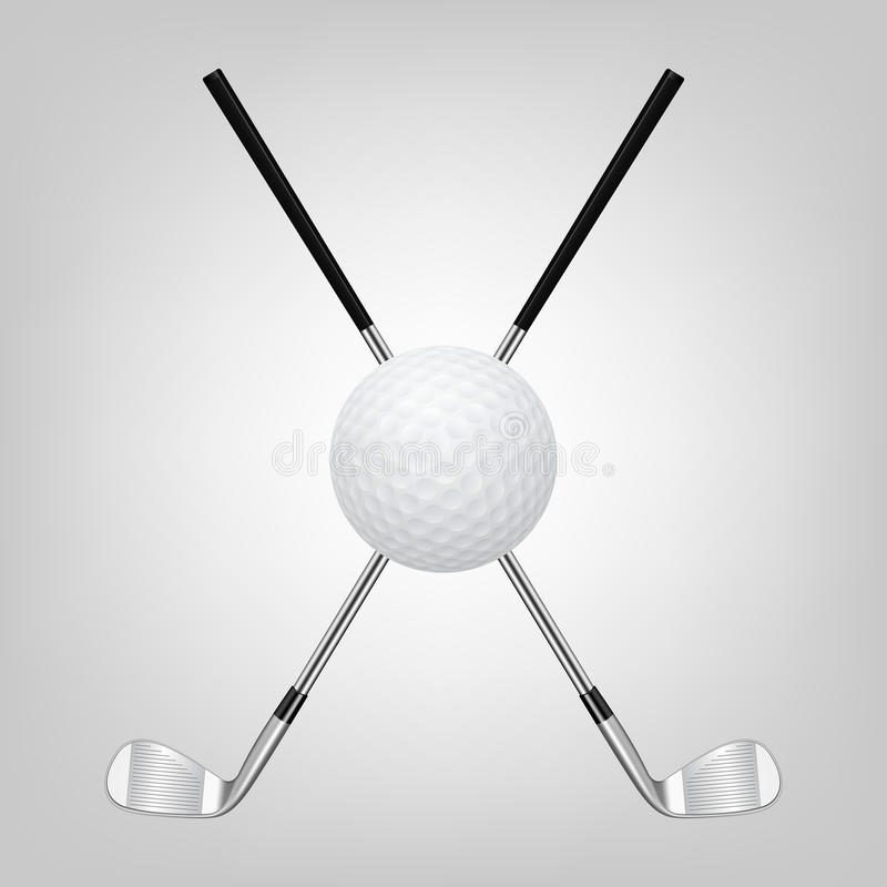 Bola de golfe e dois clubes de golfe cruzados ilustração do vetor