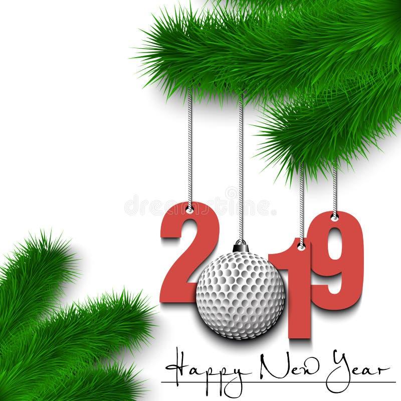 Bola de golfe e 2019 em um ramo de árvore do Natal ilustração do vetor
