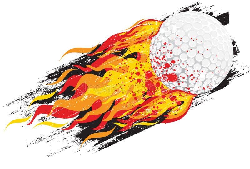 Bola de golfe flamejante ilustração stock