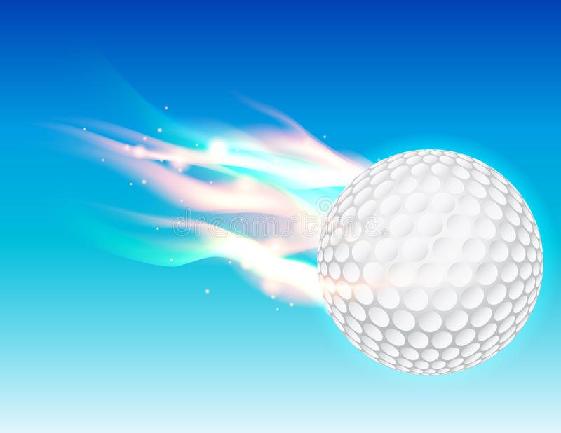 Bola de golfe flamejante no céu ilustração stock