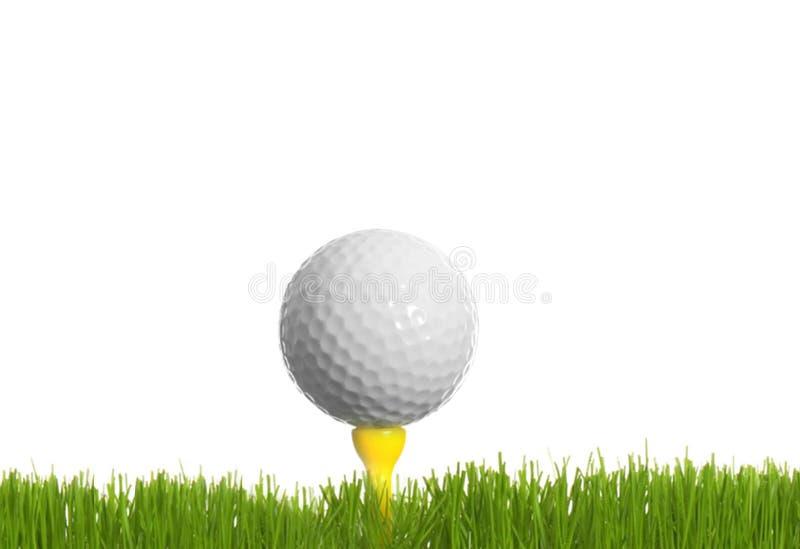 Bola de golfe na grama verde isolada foto de stock