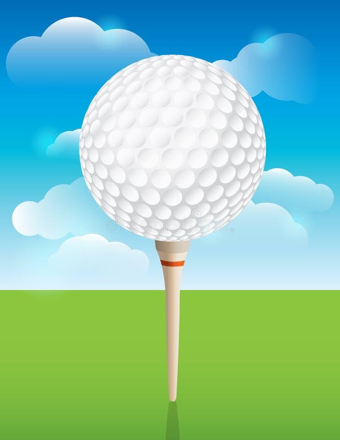 Bola de golfe no fundo do T ilustração stock
