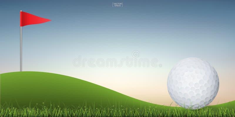 Bola de golfe no monte verde da corte do golfe com fundo do céu do por do sol ilustração do vetor