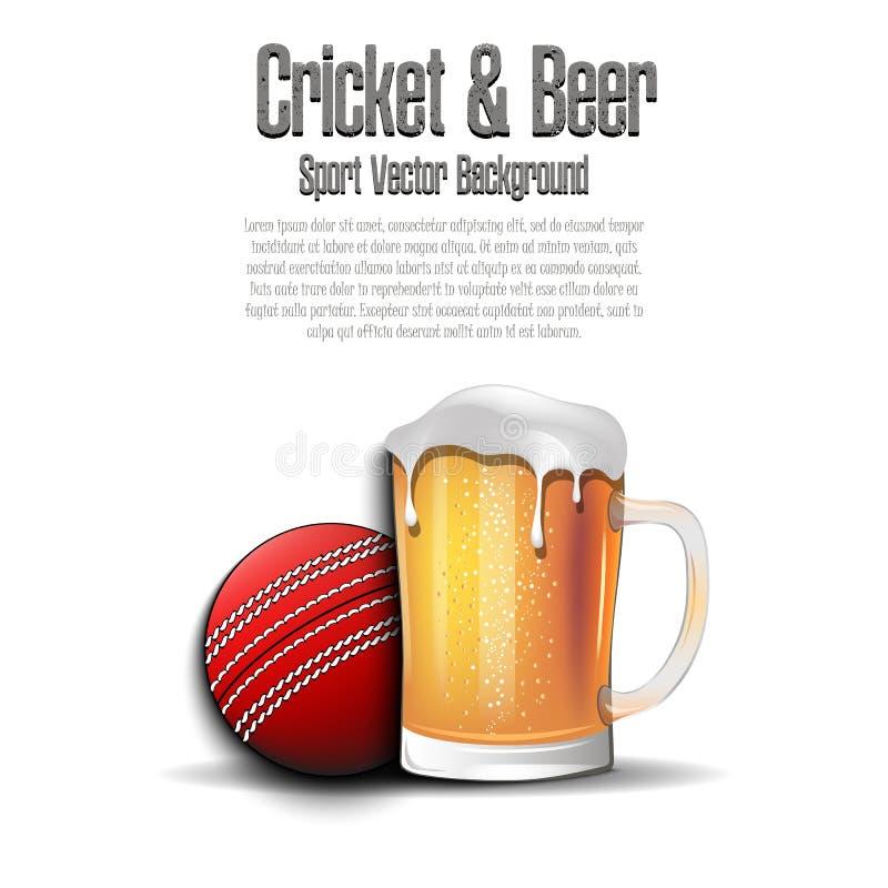 Bola de grillo con la taza de cerveza libre illustration