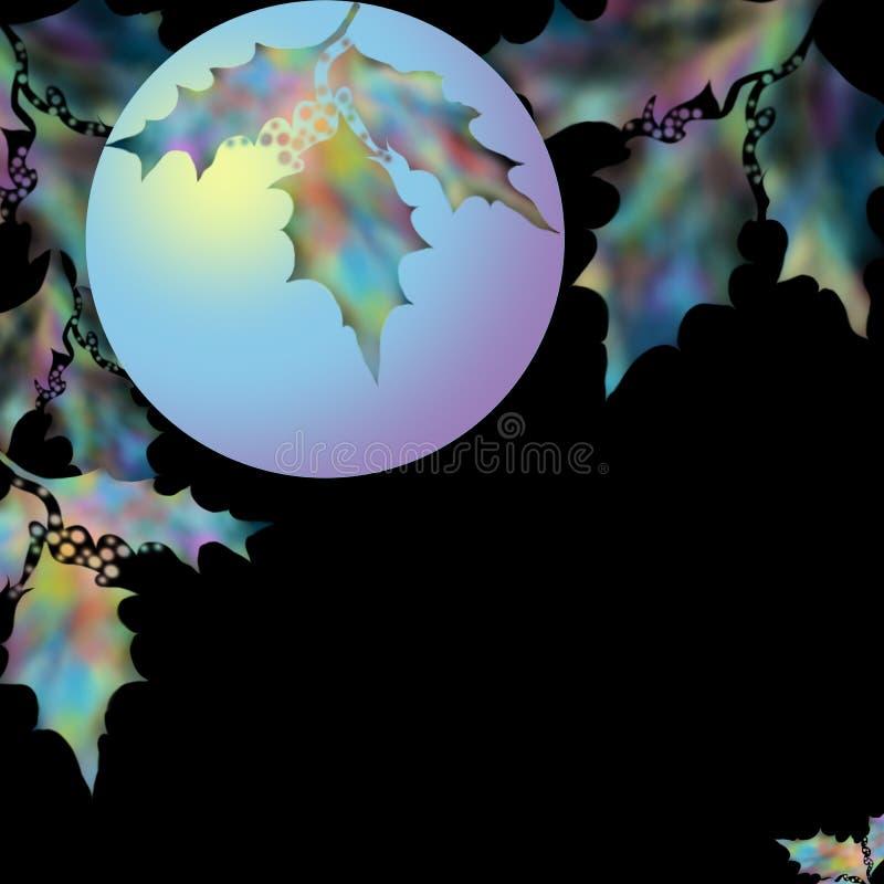 Bola de incandescência bonita do Natal com ramos do abeto e bagas do azevinho Esfera que brilha com um ramo do azevinho por um fe foto de stock