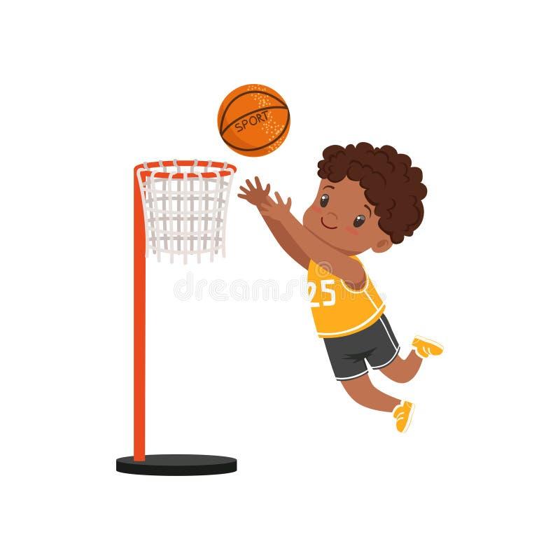 Bola de jogo do menino afro-americano no anel da cesta, ilustração do vetor do conceito da atividade física das crianças em um br ilustração stock