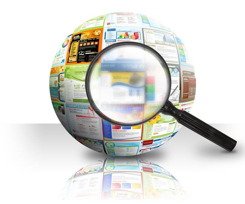Bola de la búsqueda 3D del Web site del Internet ilustración del vector
