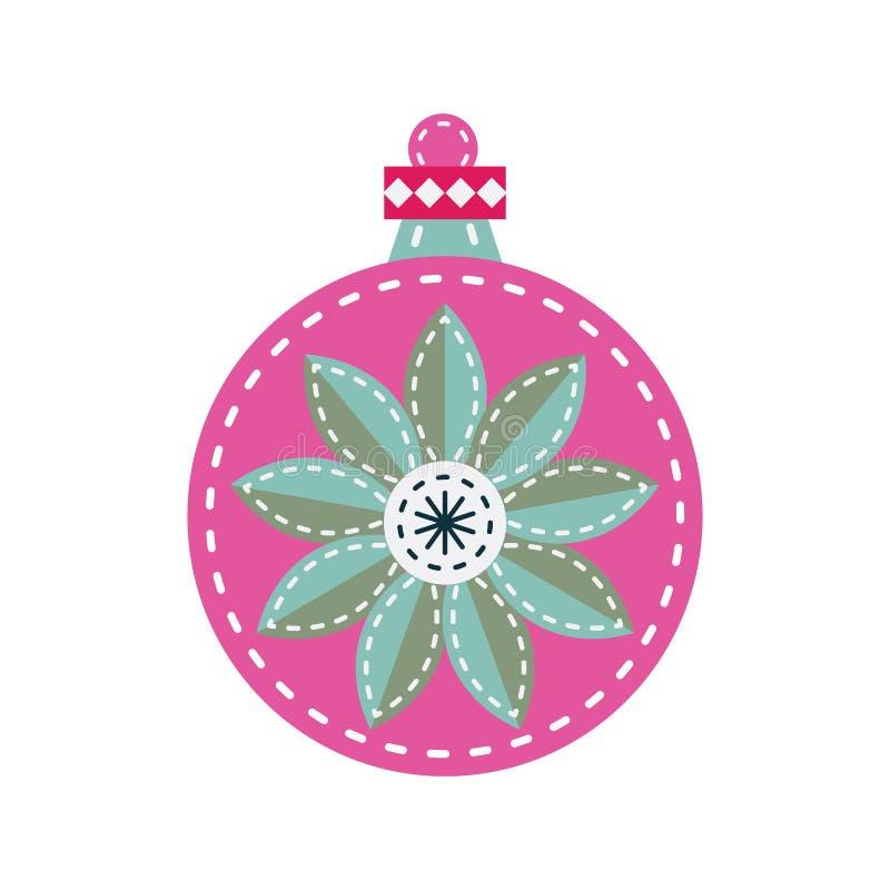 Bola de la decoración del fieltro del vintage del ornamento de la Navidad stock de ilustración