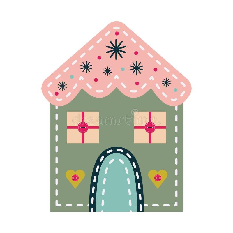 Bola de la decoración del fieltro del vintage del ornamento de la Navidad ilustración del vector