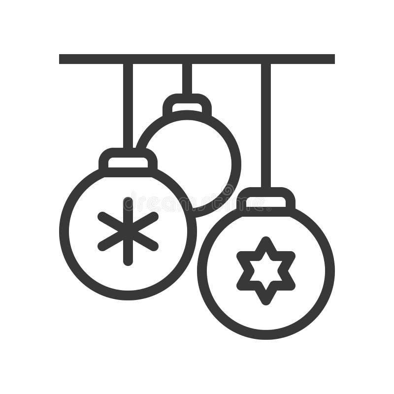 Bola de la decoración, sistema 1, esquema s editable del tema de la Feliz Navidad stock de ilustración