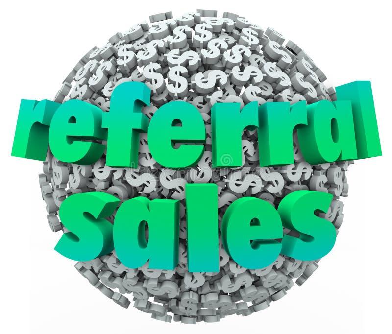 Bola de la esfera de la muestra de dólar del dinero de las palabras de las ventas de la remisión ilustración del vector