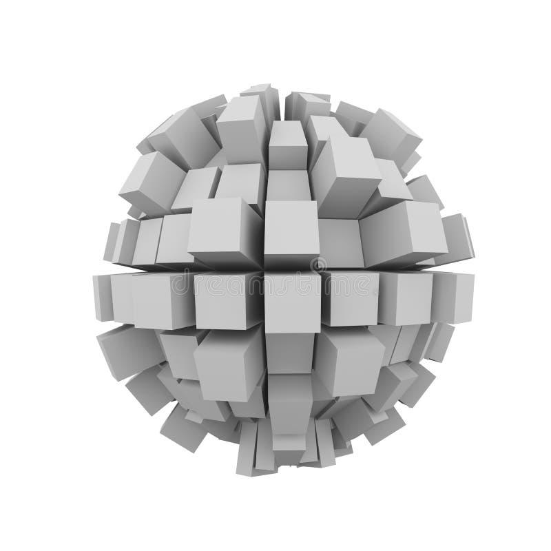 bola de la esfera del cubo del bloque del extracto 3d ilustración del vector