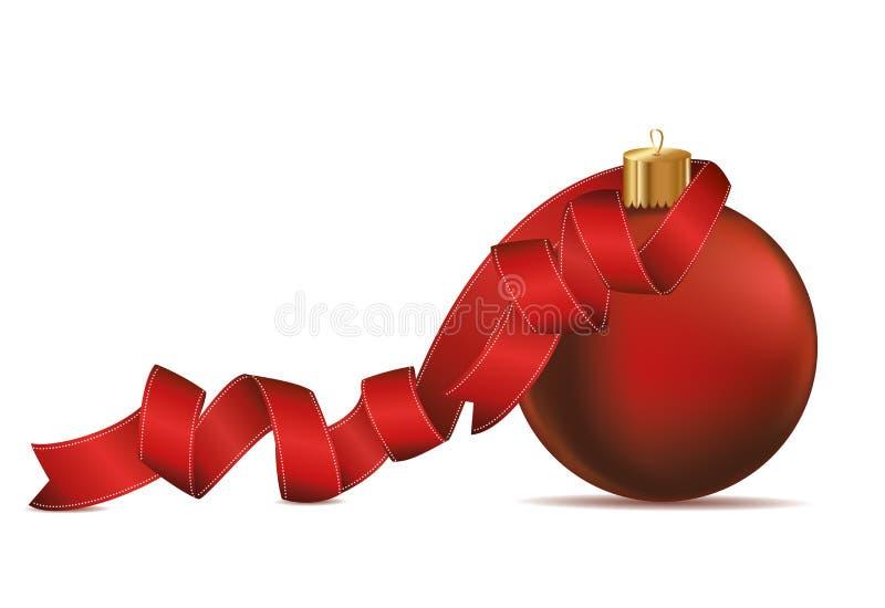 Bola de la Feliz Navidad con la cinta roja Bandera con el espacio de la copia VE libre illustration