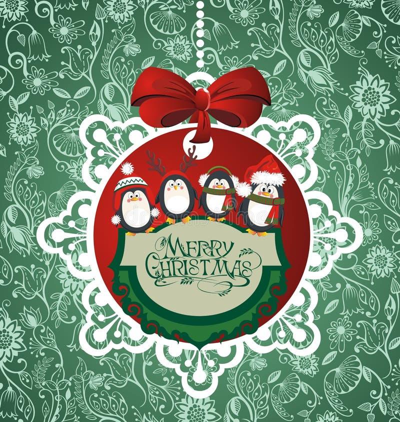 Bola de la Feliz Navidad con los pingüinos ilustración del vector