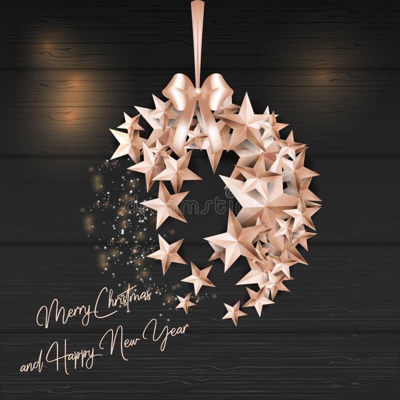 Bola de la Feliz Navidad hecha de las estrellas ilustración del vector