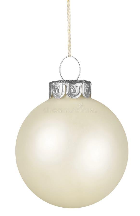 Bola de la Navidad blanca en fondo borroso foto de archivo