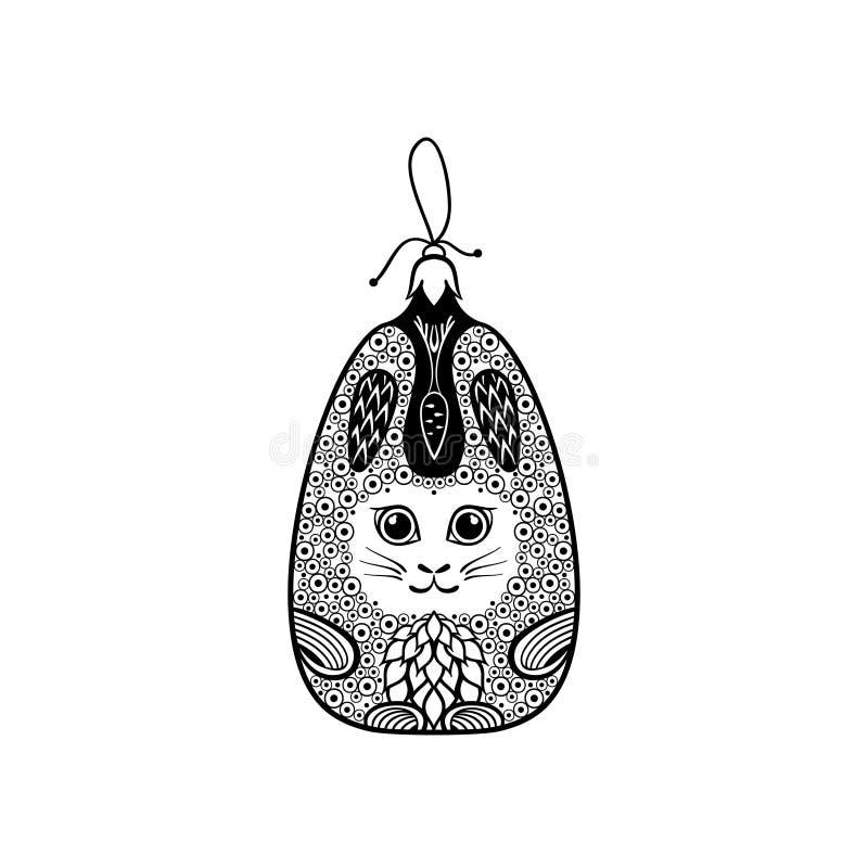 Bola de la Navidad como el conejo adornado en estilo del zentangle imagenes de archivo