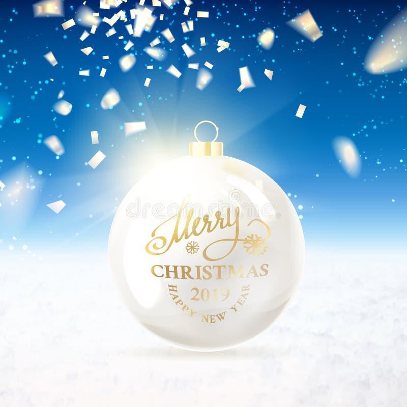 Bola de la Navidad con confeti ilustración del vector