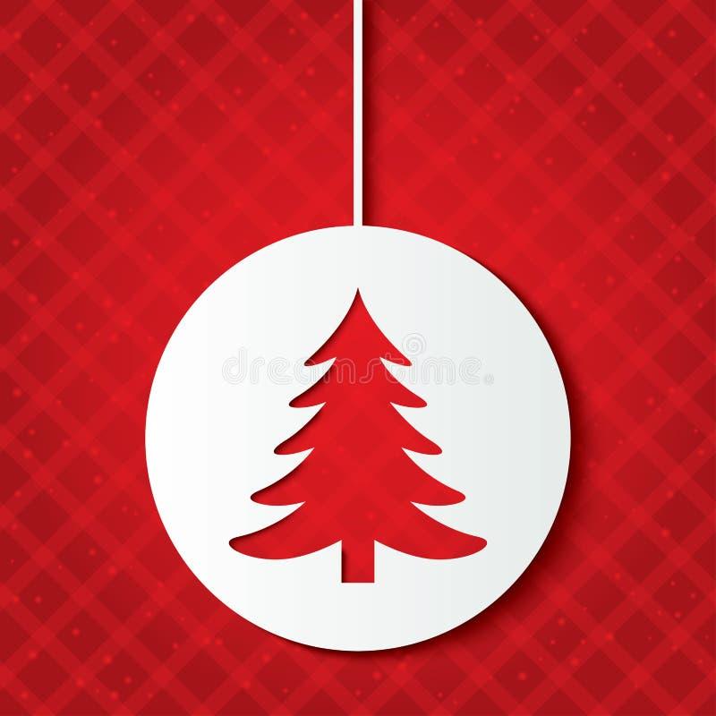 Bola de la Navidad con el árbol de navidad. Corte el papel. libre illustration