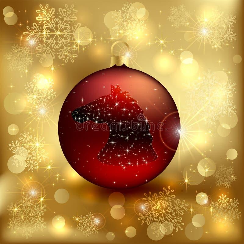 Bola de la Navidad con el caballo ilustración del vector