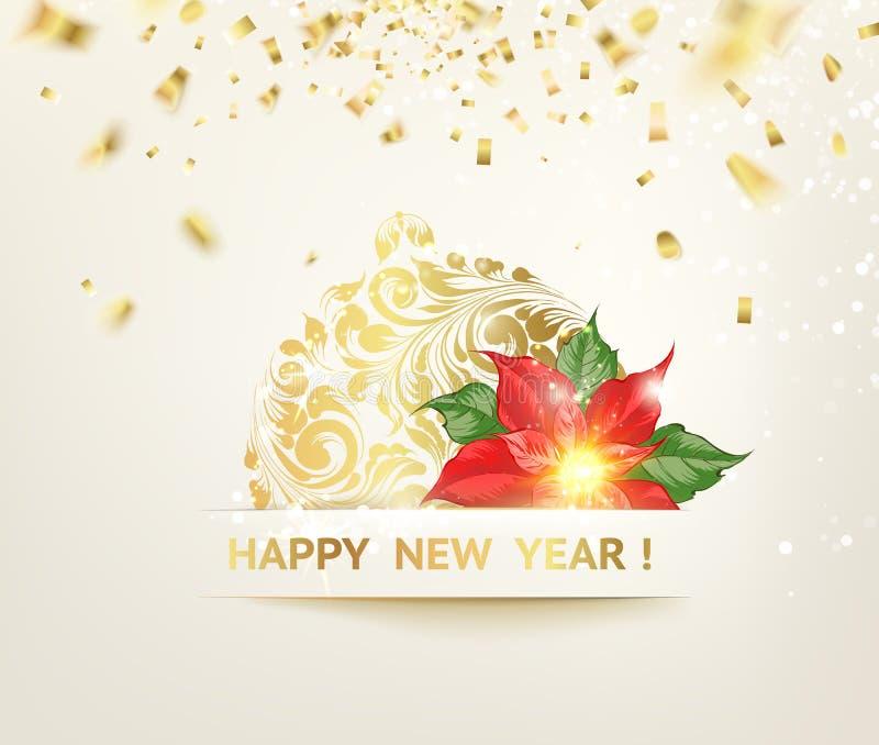 Bola de la Navidad con las curvas del confeti de la cinta El confeti de oro cae en el fondo Feliz Año Nuevo 2019 con rojo stock de ilustración