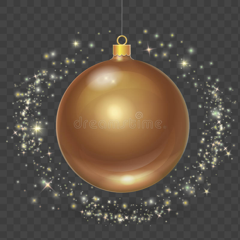 Bola de la Navidad con las estrellas del oro Ejemplo del elemento del diseño del vector de Navidad libre illustration