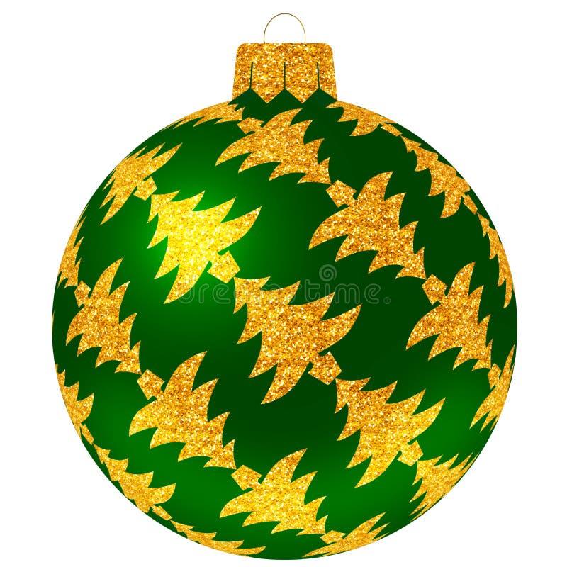 Bola de la Navidad con los árboles de oro en color verde stock de ilustración