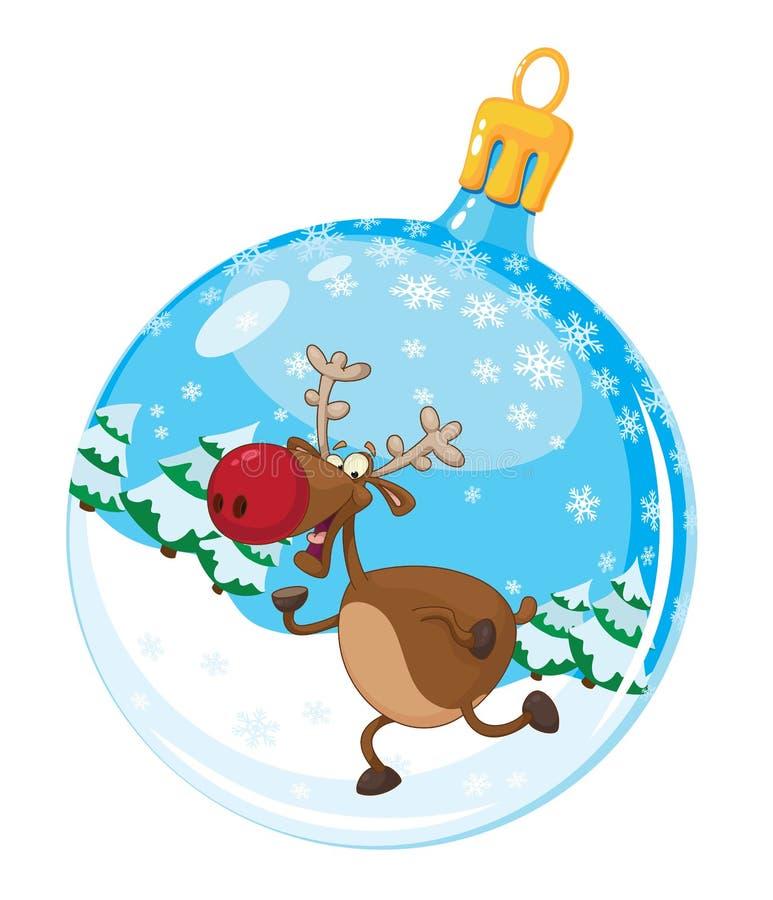 Bola de la Navidad con los ciervos stock de ilustración